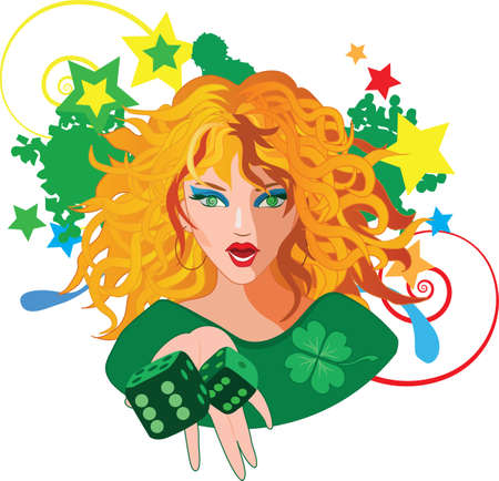 clover face: Woman red hair throwing the dices for gambling