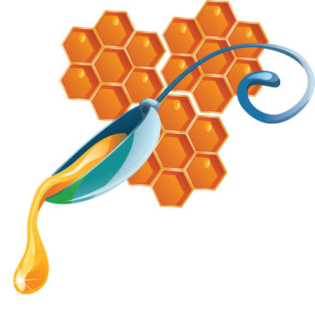 honey drop flows down from spoon illustration