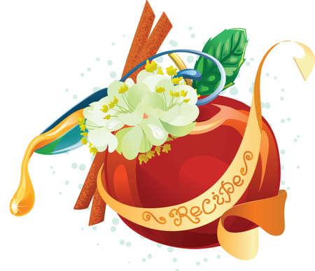 lindeboom: Glanzende appel, linde, stokken van kaneel, honing en scroll met het recept