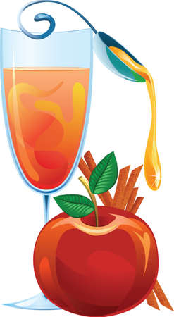 Mulled wine, apple and cinnamon sticks illustration Vector