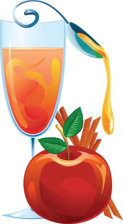 apple and honey: Mulled wine, apple and cinnamon sticks illustration Illustration