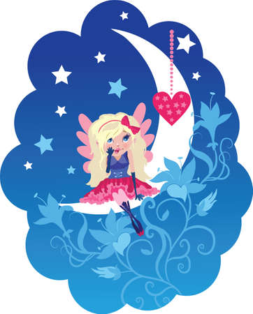 Cute cartoon love angel with heart vector illustration illustration