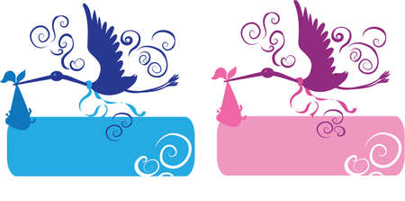 Stork and baby for girl and boy silhouettes Illustration