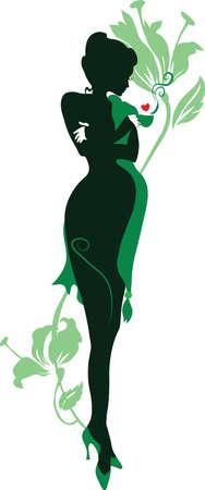 Silhouette d'une femme enceinte florale avec une tasse de thé Banque d'images - 11914805