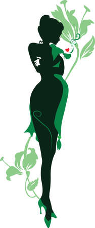 Silhouette of floral pregnant woman with cup of tea Ilustracja