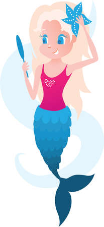 Little mermaid with mirror and wave illustration illustration