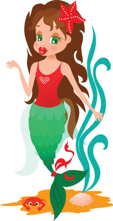Little mermaid showing something with sea illustration Stock Vector - 11916030