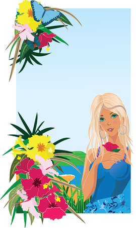 Background with tropical plants, butterflies and girl photo