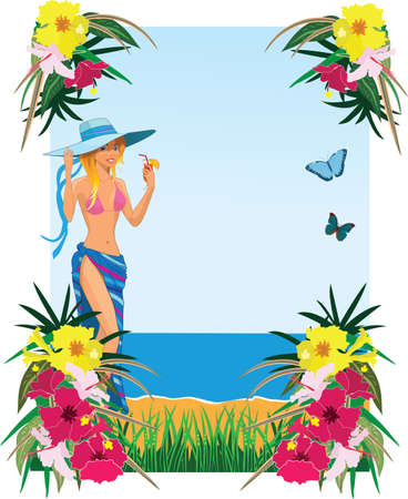 summer drink: Background with tropical plants, butterflies and girl Stock Photo