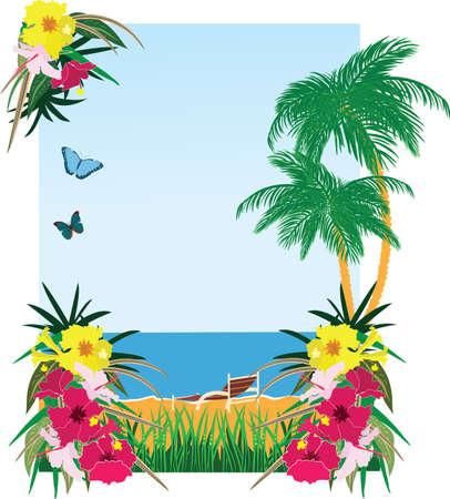 hawaiian flower: Background with tropical plants sea and beach