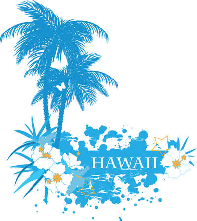 hawaiian: Background with tropical plants flowers and butterflies  Illustration