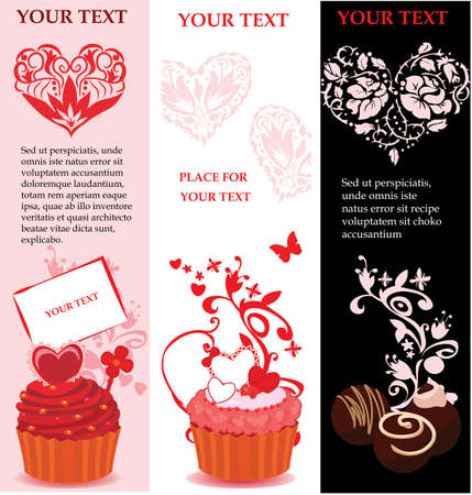 Valentine banner set with hearts and cakes Vector
