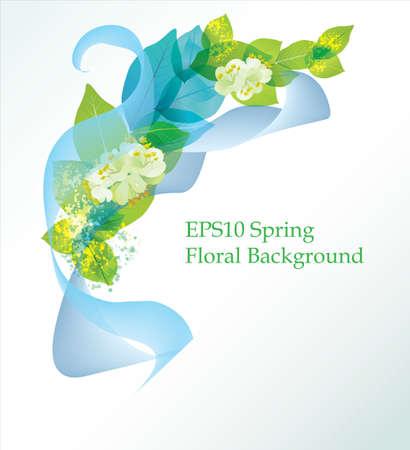Spring Flower Hintergrund mit Blättern und Blüten Standard-Bild - 11985313