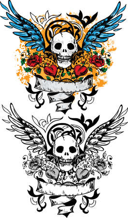 skull tattoo: Skull design with scroll, wings, roses and hearts Illustration