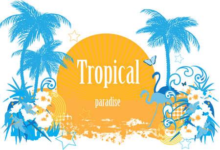plante tropicale: Arri�re-plan avec des plantes de fleurs tropicales de papillons et de flamants roses Illustration