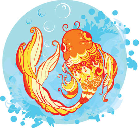 Goldfish decorative illustration with grunge water background Vector