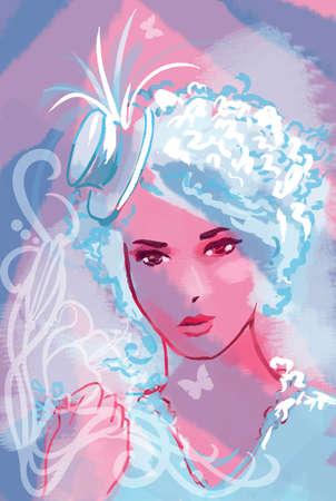 Beautiful pink cabaret woman hand drawn illustration Stock Illustration - 12346421