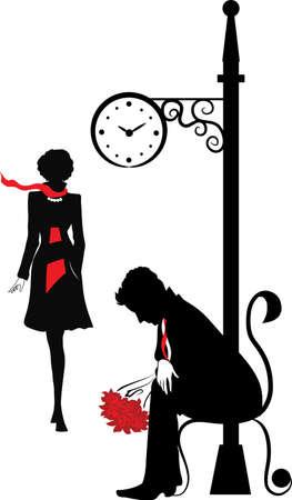 dating and romance: Silhouette grafica del uomo che aspetta la donna sotto l'orologio Stefan serie Vettoriali