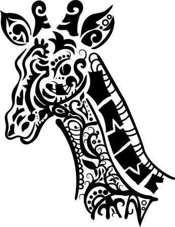 arte africano: Silueta de la jirafa decorativo aislado sobre fondo blanco Vectores