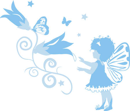 little insect: Fairy little girl silhouette isolated on white background with flowers