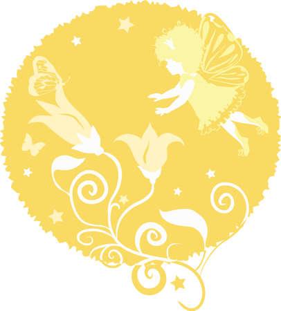 honorarios: Hada silueta ni�a aisladas sobre fondo blanco con flores