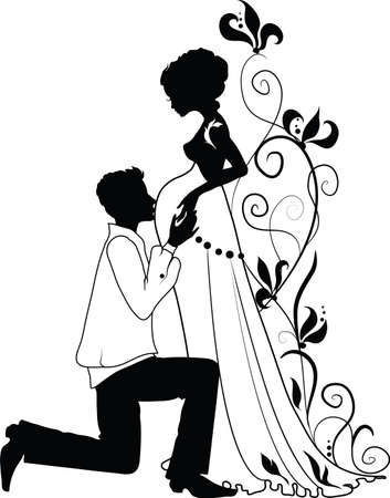 Silhouette of floral pregnant woman and man with floral background  イラスト・ベクター素材