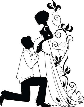 Silhouette d'une femme enceinte de fleurs et de l'homme avec le fond floral Banque d'images - 12800090