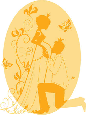 Silhouette of floral pregnant woman and man with floral background Vector