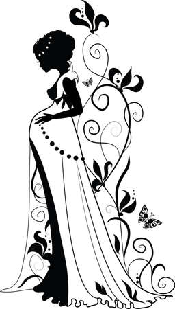 body outline: Silhouette of floral pregnant woman with floral background and butterflies Illustration
