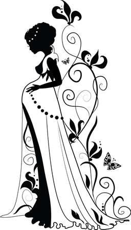 Silhouette von floralen schwangere Frau mit blumigen Hintergrund und Schmetterlinge Standard-Bild - 12800092