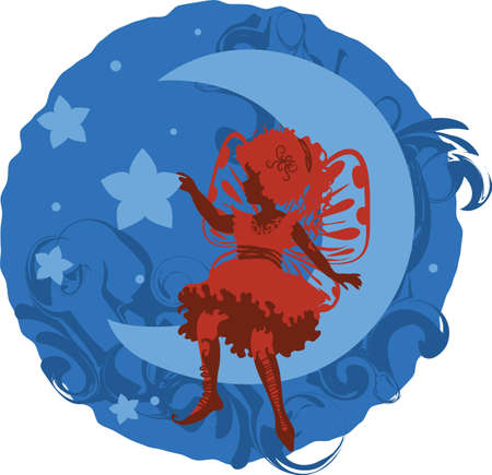 Fairy little girl silhouette isolated on white background with clouds and stars Vector