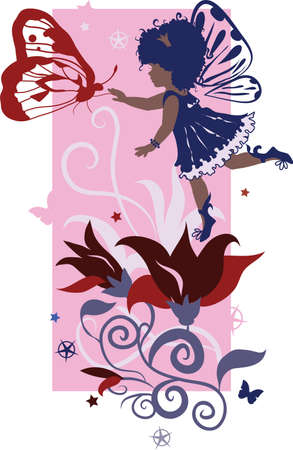 little girl feet: Fairy little girl silhouette isolated on white background with flowers