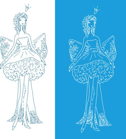 Ornate Silhouette of the bride with bow on two different backgrounds Vector