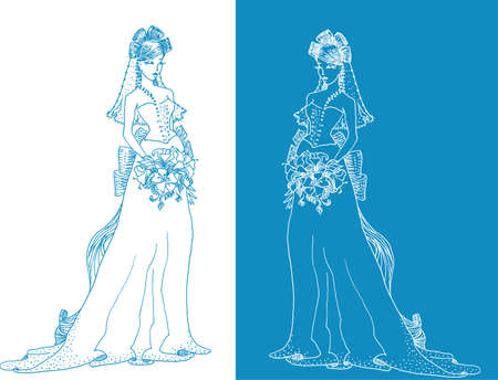 Ornate Bride  Silhouette hand drawing with bow and lilies Vector