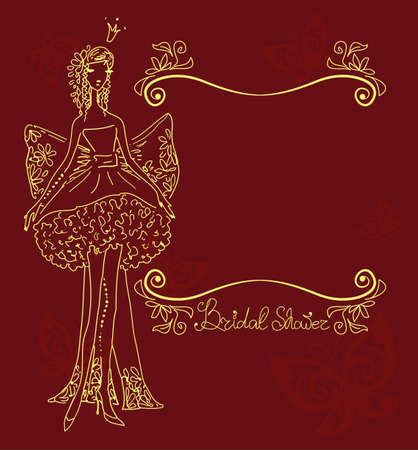 bridal veil: Bridal Shower hand drawing card with decorative ornament