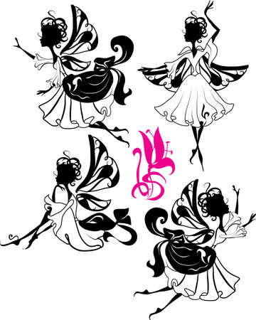 Fairy silhouette isolated on white background with flower Vector