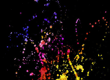 digital paint: Watercolor background with splashes in different colors