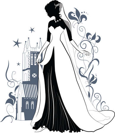 bride silhouette: Ornate Bride  Silhouette on floral background and gothic castle