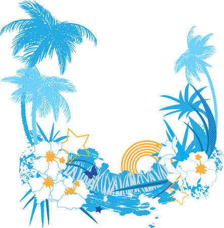 Background with tropical plants flowers and butterflies Vector