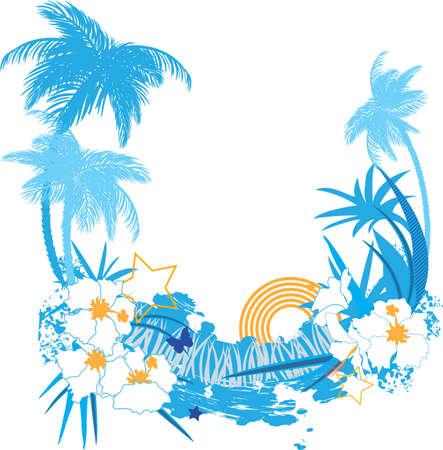 hawaiana: Fondo con plantas tropicales flores y mariposas Vectores