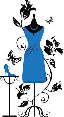 гардероб: Манекены для портных с платья и туфли на цветочные фон Иллюстрация
