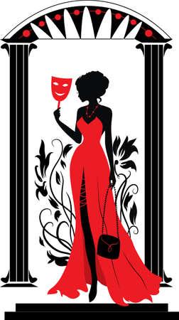 Doodle silueta gráfica de un Teatro de la mujer con el fondo floral