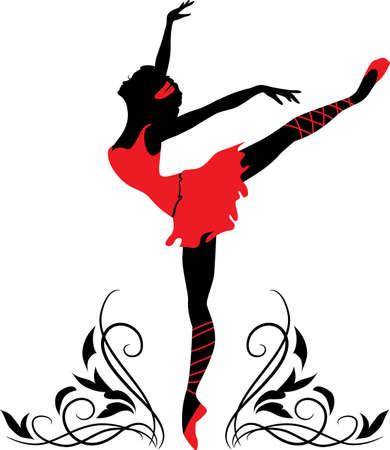 ballet cl�sico: Doodle silueta gr�fica de una bailarina de la mujer con adornos florales