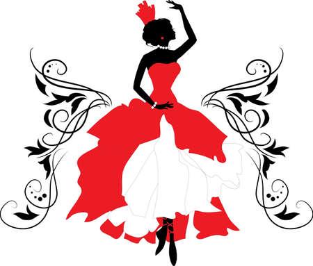 donna spagnola: Doodle silhouette grafica di una Ballerina donna con ornamenti floreali Vettoriali