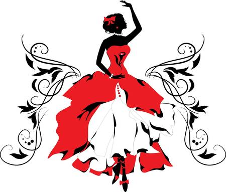 dream body: Graphic silhouette of a woman   Ballerina with floral ornament  Illustration