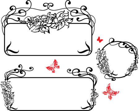 lily flowers collection: Decorative Art Nouveau style  banner with lilies and butterflies