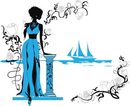 Background with tropical plants and woman silhouette Vector