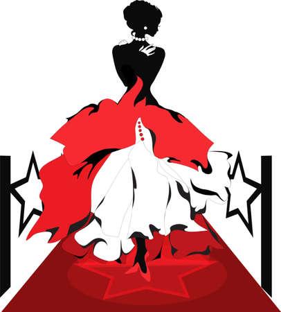 famosos: Silueta de la mujer sobre una alfombra roja con luces