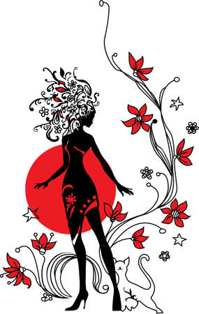 Graphic silhouette of a woman on floral background with cat