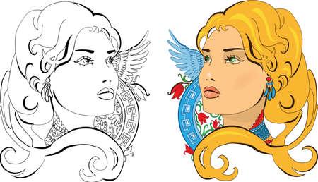 slavic: illustrazione di slavo Princess on ornamento floreale Vettoriali